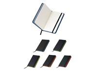 Notizbuch A6 schwarz mit Gummiband, Farbschnitt un