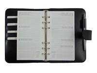 Organizer A6 Schwarz Leder Faser