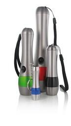 Round torch with coloured contrasting aluminium ri