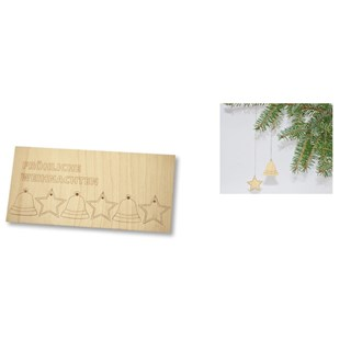 Wooden Christmas Decoration Card, without envelope