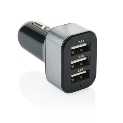 31A autolader met 3 USB poorten, zwartgrijs