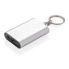 1000 mAh sleutelhanger powerbank, zilver