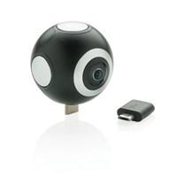 Dual lens 360 camera, zwart