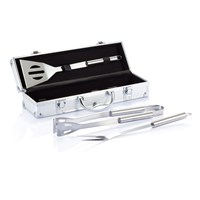 3-delige barbecue set in aluminium koffer, zilver