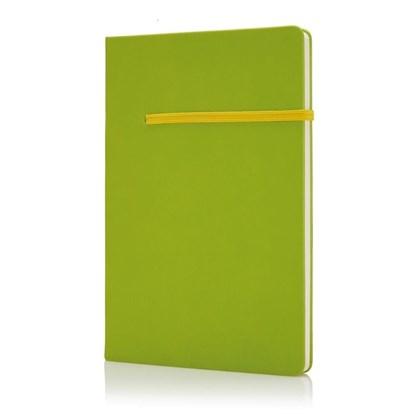 A5 notitieboek met horizontaal elastiek, groengeel