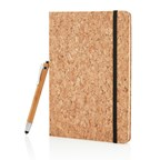 A5 kurken notitieboek incl touchscreen pen, bruin