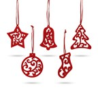 Set van 5 stuks kerstdecoratie