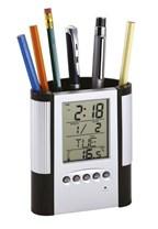 Pennenhouder met LCD alarmklokje Butler met tijd,