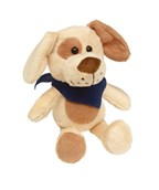 Plush dog with navy blue triangle scarf