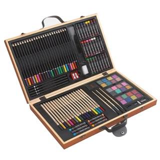 88-delig tekenset in houten doos met oa verfkwastj