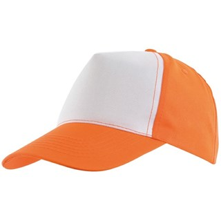 5-Panel Baseball-Cap Shinyorange/white