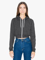 AMA Sweater Hooded Zip Cropped Flex Fleece For Her
