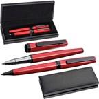 Metalen pennenset in rood-zwart