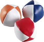 Set van 3 gekleurde jongleerballen in witte pouch