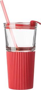 Glazen drinkbeker met rietje