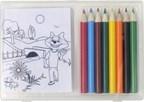 Tekenset met kleurplaatjes en kleurpotloden
