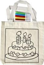Katoenen tas met 2 hengsels en kleurplaat