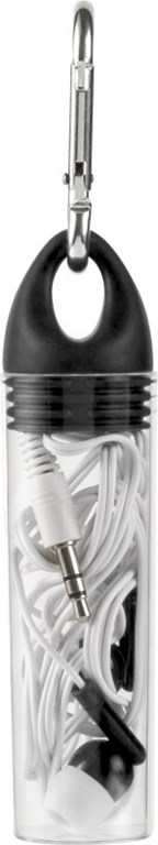 In-ear oortelefoons in plastic tube