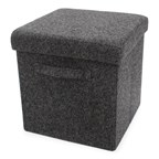 Foldable Storage Pouffe with handles Wool