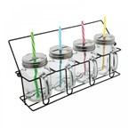Set van 4 glazen met rietjes REFLECTS-ARACUJA